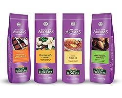 Kit 4 Cafes Trufados Floresta - Amendoas, Baunilha, Creme Brulee e Chocolate -100g cada