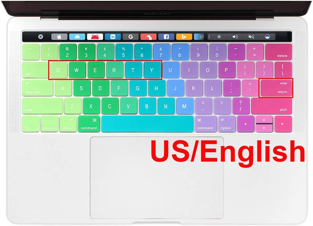US USA Enter Russian Ukraine English Thin Soft Silicone Keyboard Cover for MacBook Pro 13 15-US Russian Black