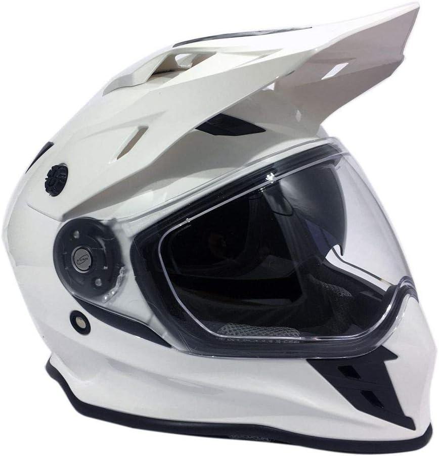 Viper RX-v288 Double Visor Enduro Helmet Plain White Crash Lid On /& Off Road XS