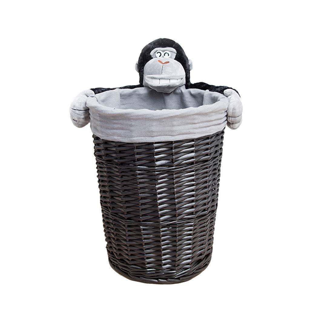 JSSFQK Rattan Storage Basket Cartoon Storage Basket, Dirty Clothes Toy Snack Storage, Black, Three Sizes Storage Box (Size : M)