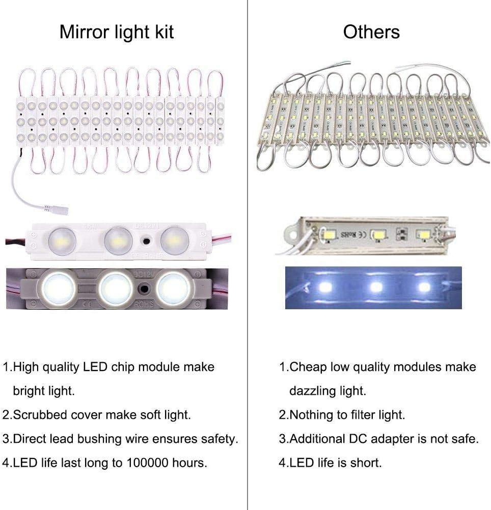 Dadahuam LED Spiegelleuchte Schminktisch Beleuchtung,6000K Dimmbar Schminklicht mit 60 LED-Lampen f/ür Schminktisch Badzimmer,Verstellbare L/änge,Spiegel Nicht Inbegriffen Natural Beneficial