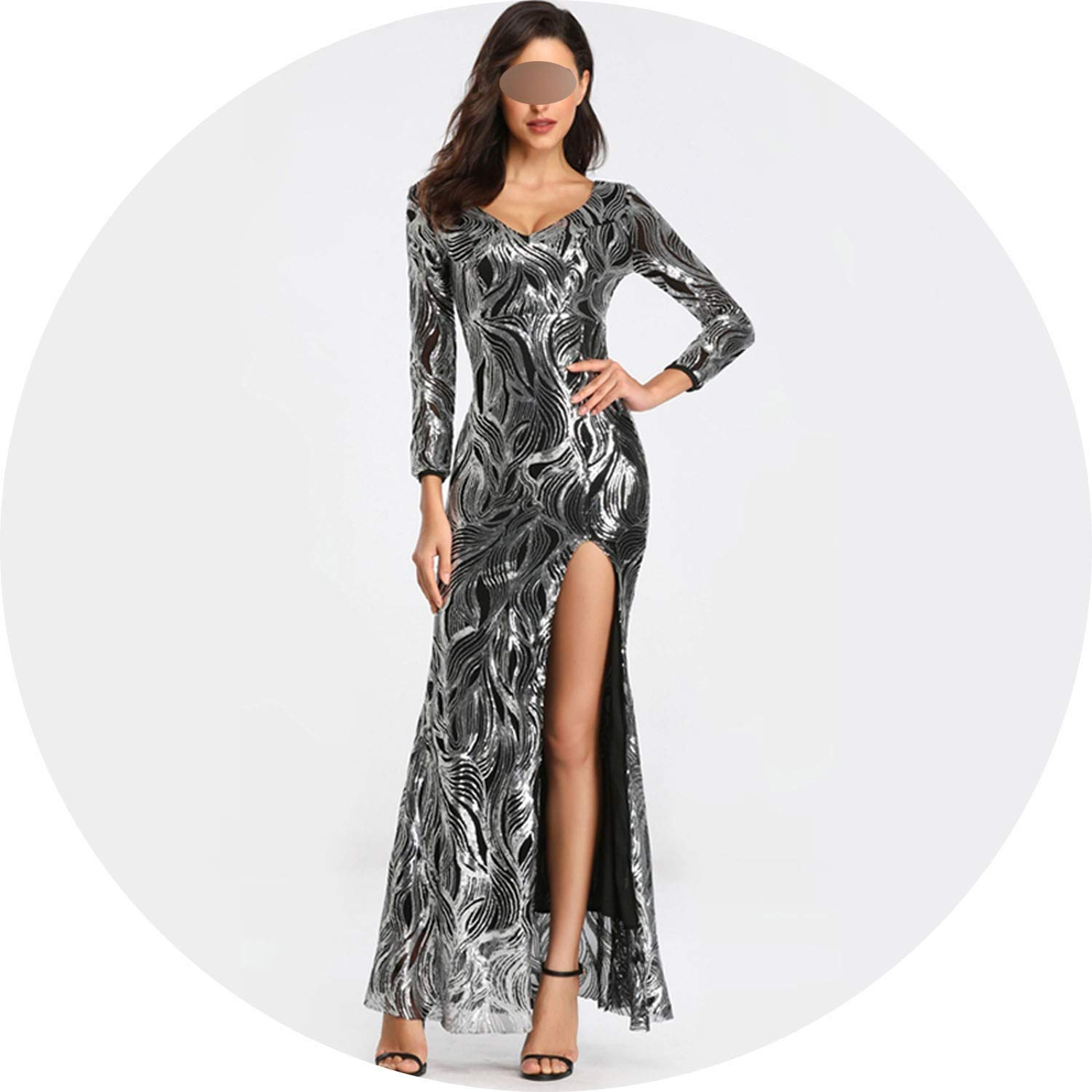 Black Silver Sexy Evening Dress Womens V Neck Slit Long Sleeve Sequins Evening Party Dress