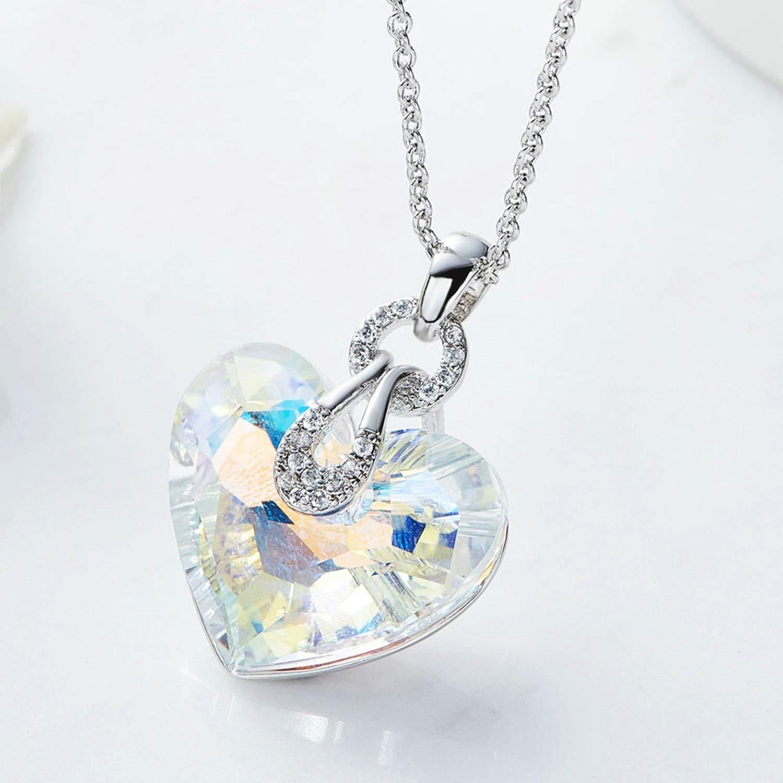Women Ladies Brass Pendant Necklaces Heart AAA SWA Crystal Pendant Gnzoe