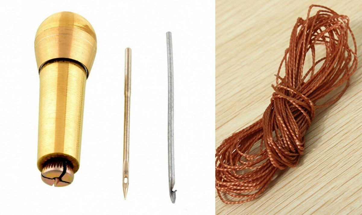 CHENGYIDA Shoe Repair Kit Sewing Awl Kit : 2 Metters Nylon Cord Thread In Brown and Sewing Awl Hook Ltd.