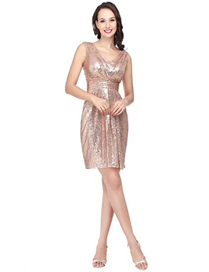 Clearbridal Womens Sequin Prom Dress Rose Gold Short Party Bridesamid Midi Dress SD385 UK6