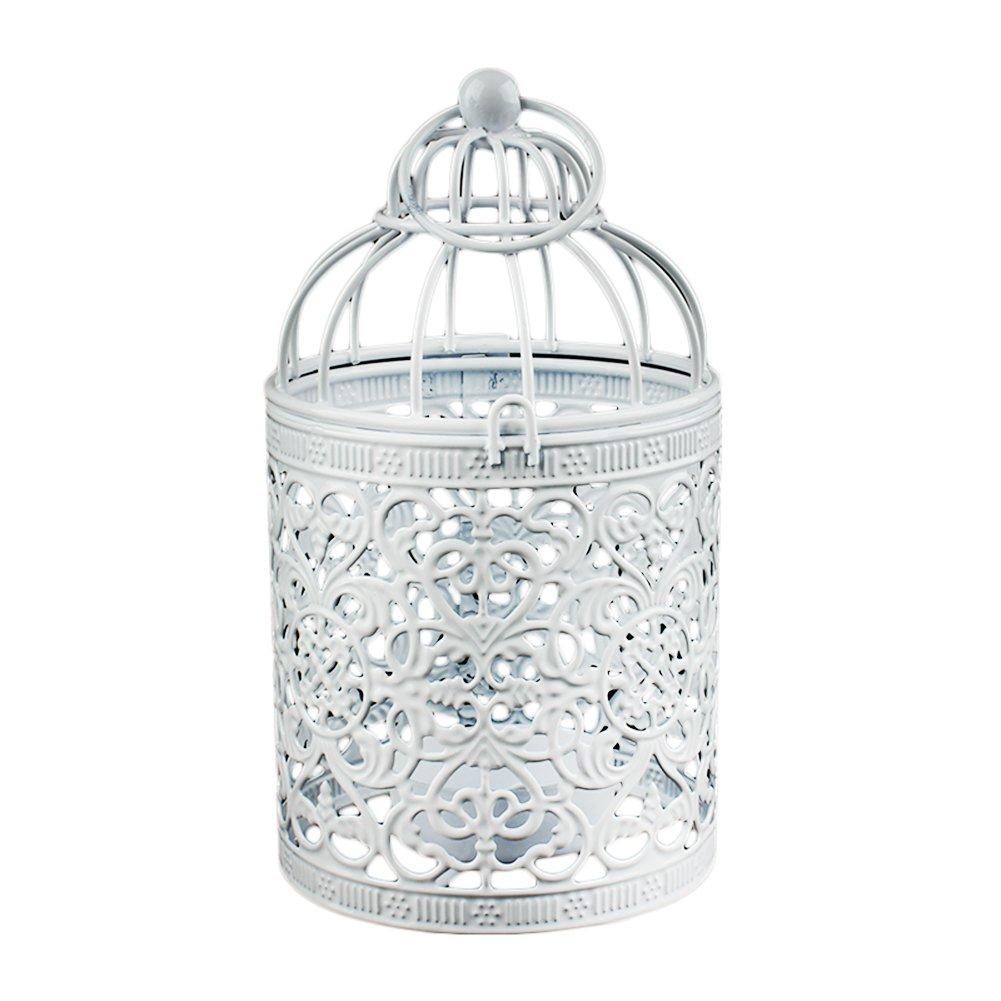 Freedi. Metal Candle Holder Centerpiece Decorative Hollow Out Birdcage Iron LED Hanging Candlestick Lantern (1Pcs)