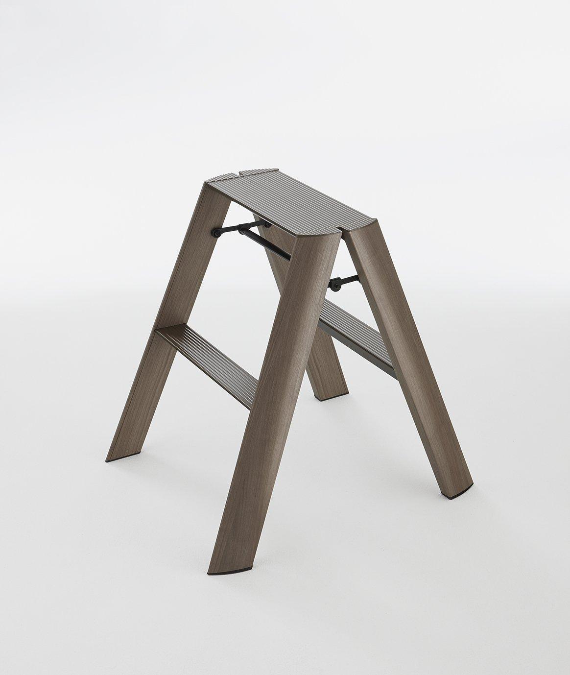 Lucano step stool Slim Design 2 Step Wood Dark Folding Lightweight Aluminum Ladder (Wood Dark)