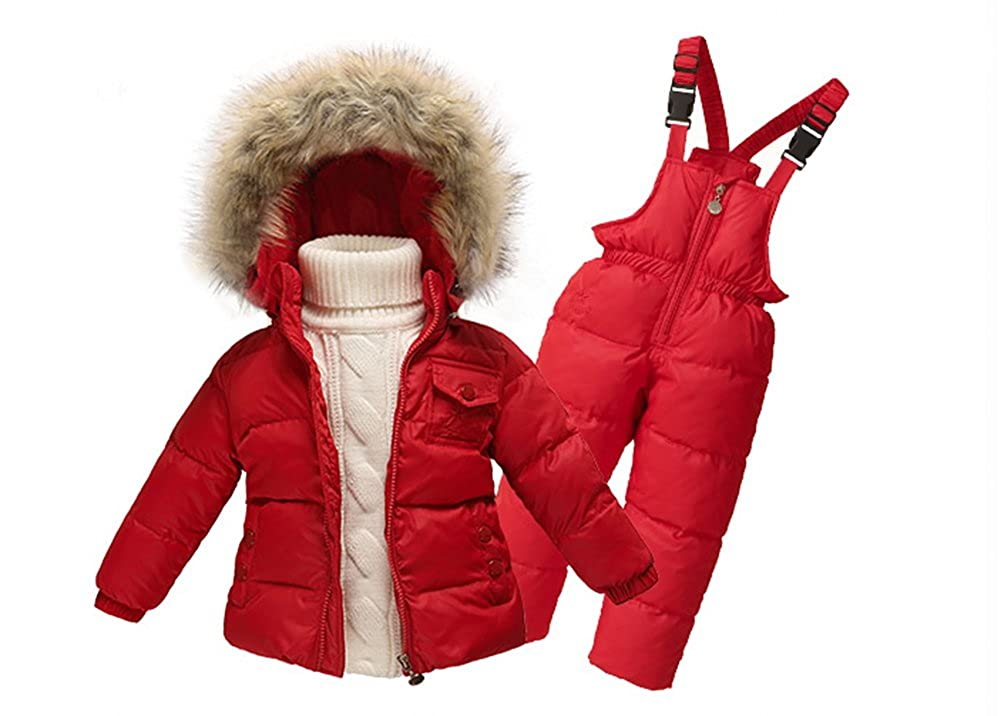 Tortor 1Bacha Kid Boys Girls Winter Hooded Down Puffer Coat Snow Bib Overall Set JHKJ2403