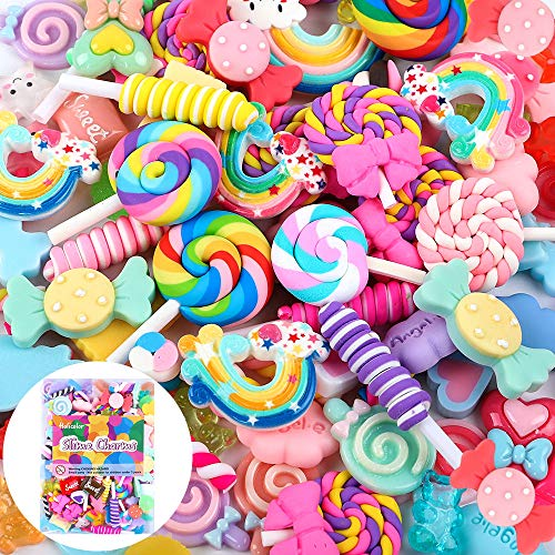 Holicolor 120 Pcs Slime Charms Cute Set Mixed Assorted Candy Sweets Resin Flatback Slime Beads Making Supplies for DIY Craft Making and Ornament Scrapbooking