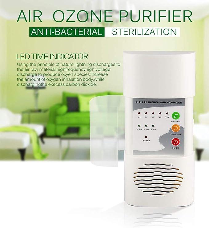 ZUZU Ozonizador de Aire Purificador de Aire Desodorante para el hogar Ozono Ionizador Generador Esterilización Filtro germicida Desinfección Cuarto Limpio(Enchufe Versión Europea),US: Amazon.es: Deportes y aire libre