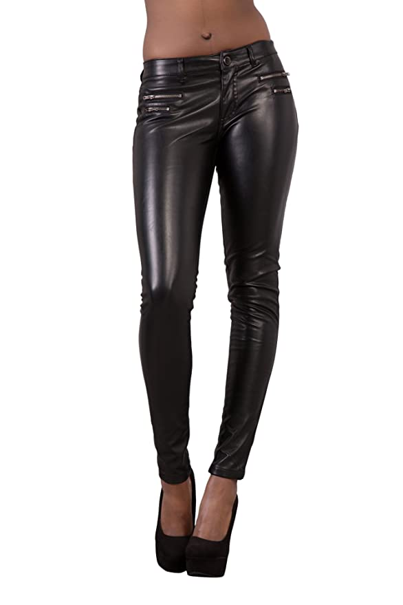 7c0ab2a1e533 LustyChic Womens Leather Look Trousers Slim Fit Ladies Stretch Skinny Jeans  Size UK 8-16: Amazon.co.uk: Clothing