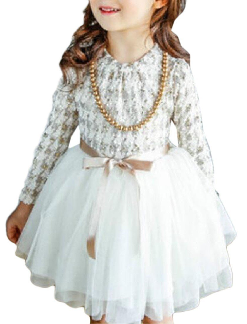 YUNY Girls Plus Velvet Long Sleeve Wedding Mesh Princess Dresses White 100cm