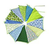 Extra Large Bunting 12 Feet Flag Banner Pennant Flag Garlands Fabric Triangle Flags Double Sided Vintage Cloth Shabby Chic Decoration for Birthday Parties Ceremonies Kitchen Bedrooms (Green)
