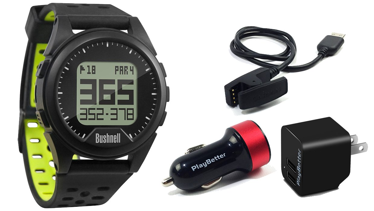Bushnell Neo Ion (Black) POWER BUNDLE with PlayBetter USB Wall & Car Charging Adapters | Golf GPS Watch, 35,000+ Worldwide Courses