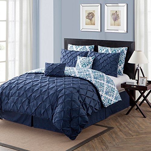 Queen Duvet Cover Set : Sophisticated Pintuck Design , Lighweight Luxurious Microfiber in Navy Blue ; 3 pc Set Includes Unfilled Unfilled Duvet Cover , 2 Pillow Shams