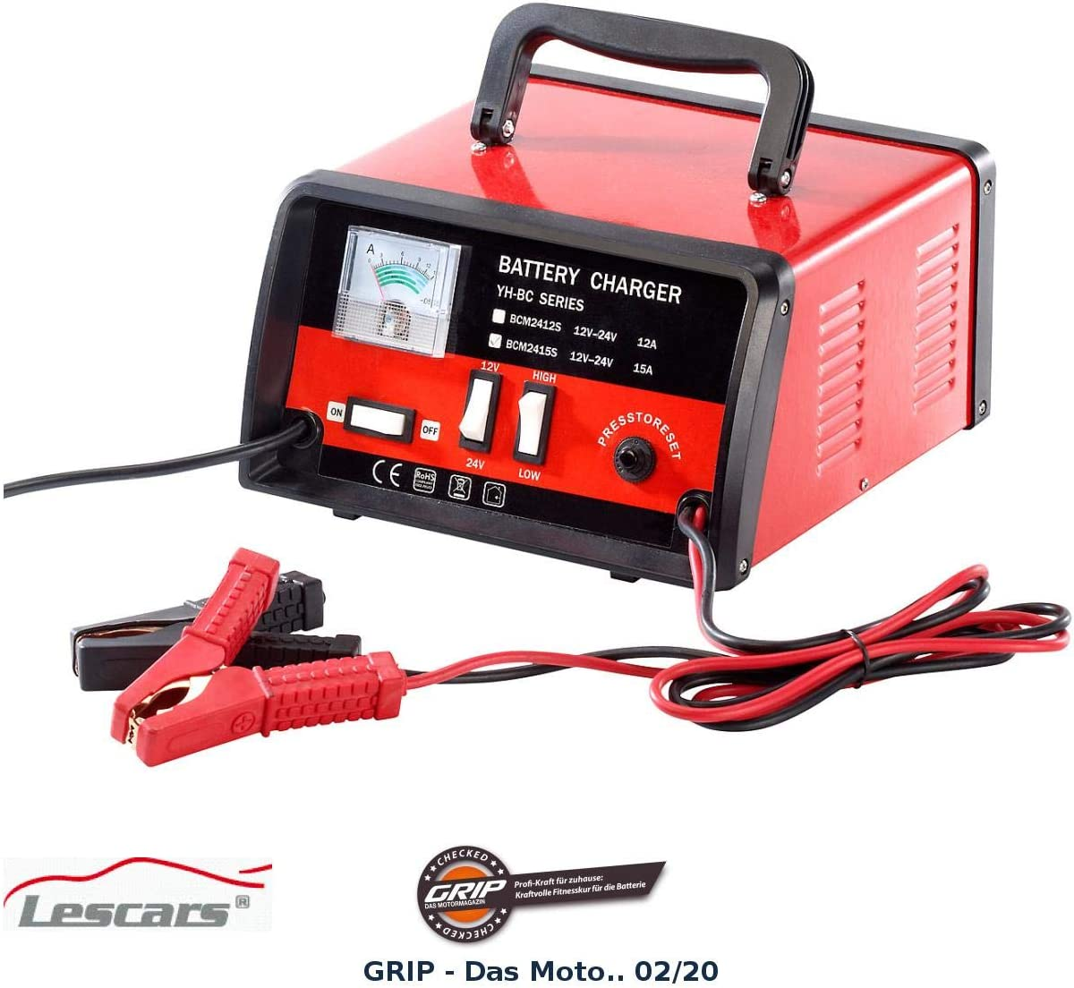 Lescars Profi Batterieladegerät Für 12 24 Volt Max 15 A Auto
