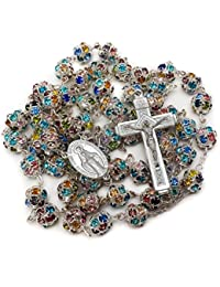 Colorful Zirconia Crystal Beads Rosary Silver Catholic Necklace With Miraculous Medal & Cross Crucifix Handmade Multi-color Rosario