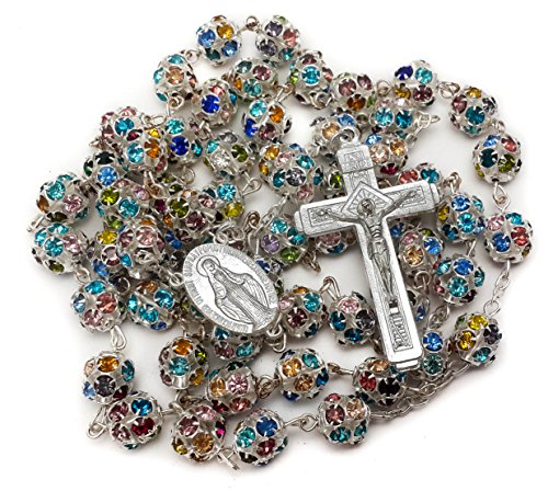 Nazareth Store Colorful Zirconia Crystal Beads Rosary Silver Catholic Necklace with Miraculous Medal Cross Crucifix Multicolor Rosaries in Velvet Bag ()