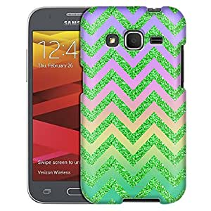 Samsung Galaxy Core Prime Case, Slim Fit Snap On Cover by Trek Rainbow on Chevron Glitter Green Case