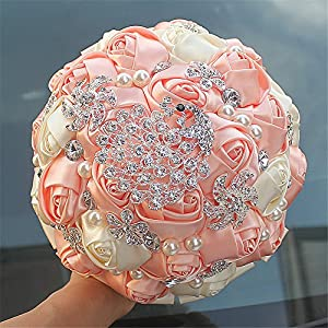 Advanced Customization S type brooch wedding bouqeut bride holding flowers with rhinestone pearl Ivory+Peach Custom bouquet Color 18cm 76