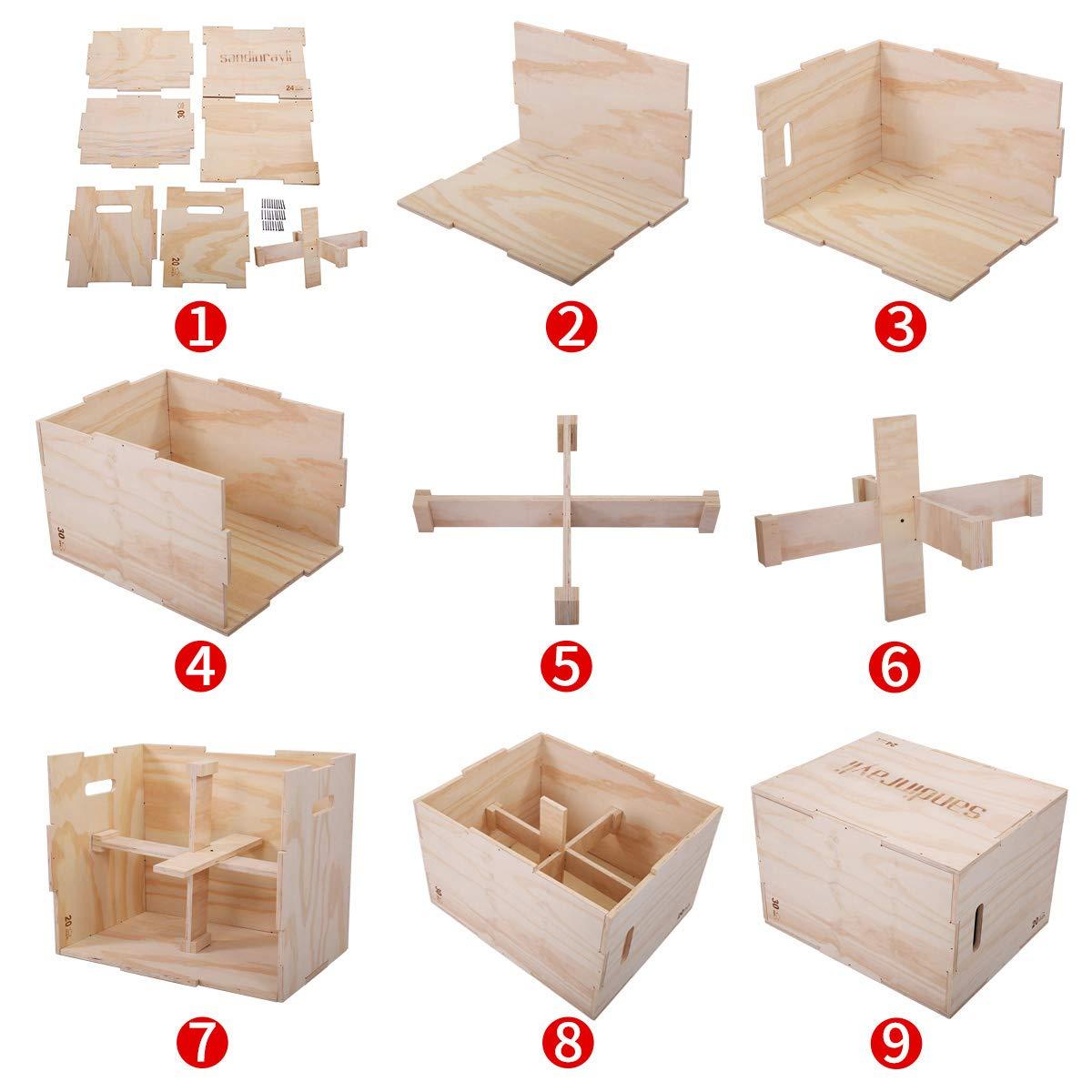 LAZYMOON 3 in 1 Wooden Plyo Box 20x24x30 Inch Crossfit Plyometrics Box Platform Jump Training