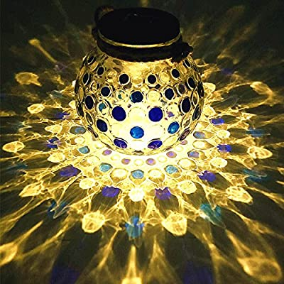 Sogrand Solar Jar Lights Outdoor Lids for Mason Jars Blue Dot Hanging Lantern Home Decor Deal of The Day Prime Today Warm White LED Rope Hanger Light Lid Decorative Lamp for Patio Garden Bar Party