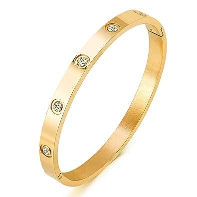 ce0158ba5 Amazon.com: Yeemer Titanium Steel Bangle Bracelets for Women Bangle Bracelet  Set in Heart and CZ Stone Jewelry Fits 6.5 Inch Wrists: Jewelry