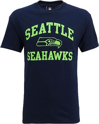 Official Seattle Seahawks grande camiseta con imagen - algodón, Azul Marino, 100% algodón, Hombre, Small 34/36