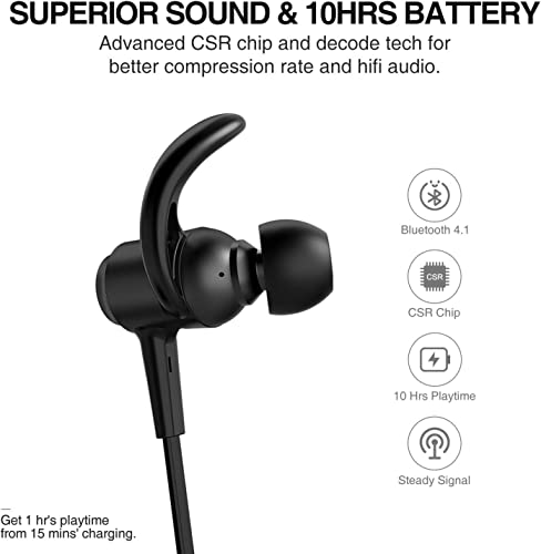 Picun Bluetooth Headphones IPX7 Waterproof 10 Hours Playtime Wireless Headphones Sports in-Ear Earbuds, Richer Stereo Magnetic Earphones with HD Mic Carry Pouch, Secure Fit for Work Home Office -Black
