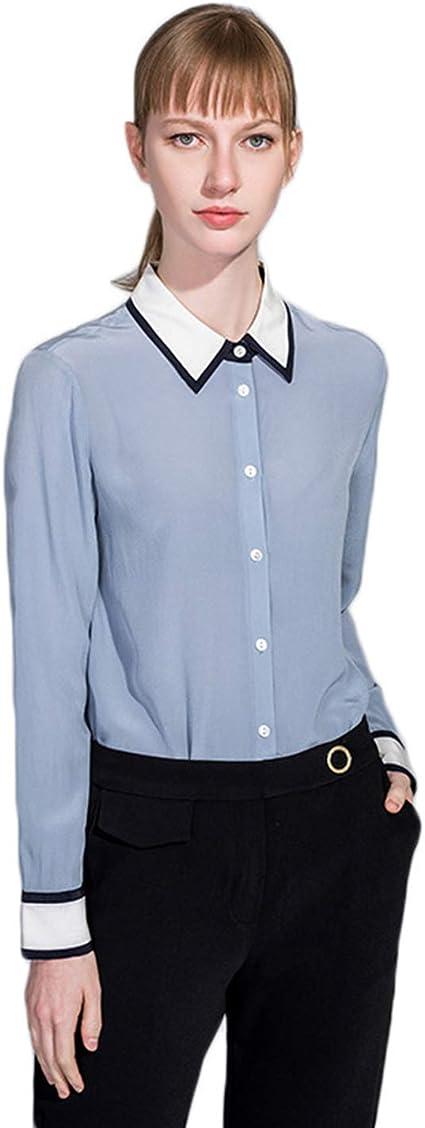 XCXDX Camisa Azul De Seda De Manga Larga para Mujer, Mono ...