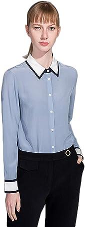 XCXDX Camisa Azul De Seda De Manga Larga para Mujer ...