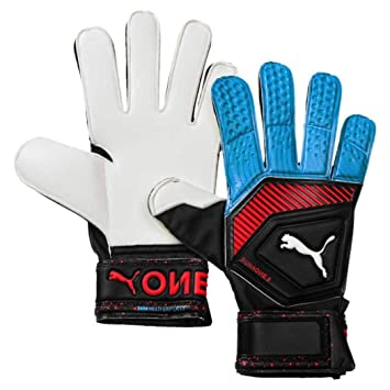 f2e58673c816 PUMA Unisex's One Grip 3 RC Goalkeeper Gloves, Black-Bleu Azur-Red Blast
