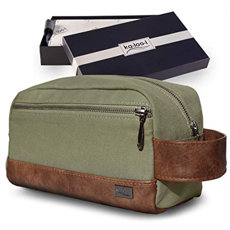 Toiletry Bag for Men - Canvas Dopp Kit for Travel, Gym, Grooming & Shaving, Waterproof Lining
