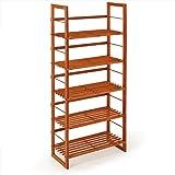 Wooden Slatted Rack Brown Free Standing Shelf 5 Tier Shoe Bookcase Storage Organizer Unit 135cm
