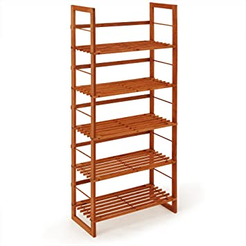 Beautiful Wooden Slatted Rack Brown Free Standing Shelf 5 Tier Shoe Bookcase Storage  Organizer Unit 135cm