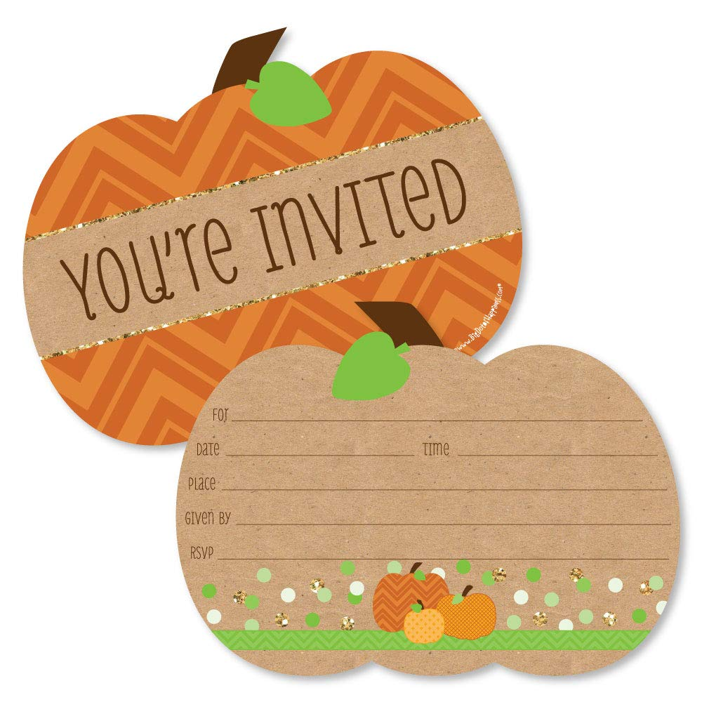Pumpkin Patch Shaped Fill in Invitations Fall Thanksgiving Party Invitation Cards with Envelopes Set of 12