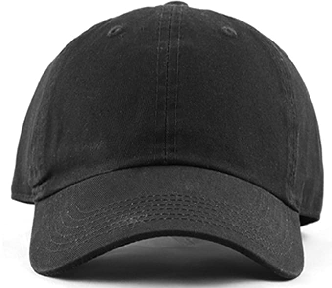 46264882 MIRMARU Plain Stonewashed Cotton Adjustable Hat Low Profile Baseball Cap .(Black)