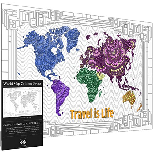 Travel is Life X-Large World Map Coloring Poster Gift Map by with Advanced Mandala Designs for Kids & Adults 24
