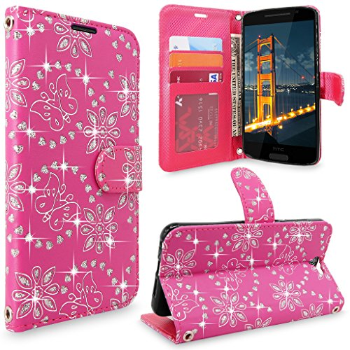 HTC One A9 Case, HTC Aero Case, Cellularvilla [Slim Fit] [Stand Feature] Premium Pu Leather Wallet Case [Card Slots] Book Style Protective Flip Cover For HTC One A9 / HTC Aero (Pink Glitter) (Htc One Best Features)