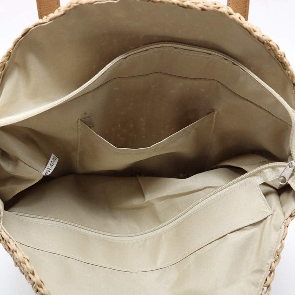 Huairdum Sacs d/épaule de Paille Rondes 2 Couleurs de Mode Confortable fabriqu/é /à la Main Naturel Vintage tiss/é Sac /à Main Plage d/ét/é Sling r/étro Sac de rotin Femelle pour Les Vacances