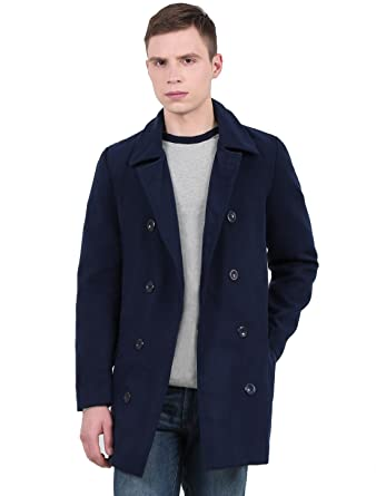 c4289cb8a uxcell Men Peaked Lapel Fold Down Collar Double Breasted Full Lined Pea Coat