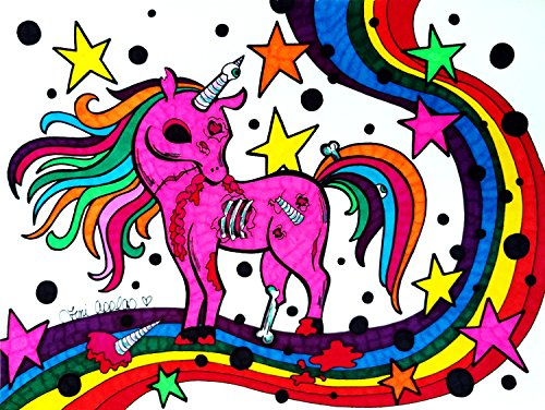 Zombie Unicorn Print, Rainbow Print, Zombie Art, Colorful Unicorn Art, Rainbow Art, Unicorn Gift Idea, Original Zombie Art, 8x10 Inch (Idee Originali X Halloween)