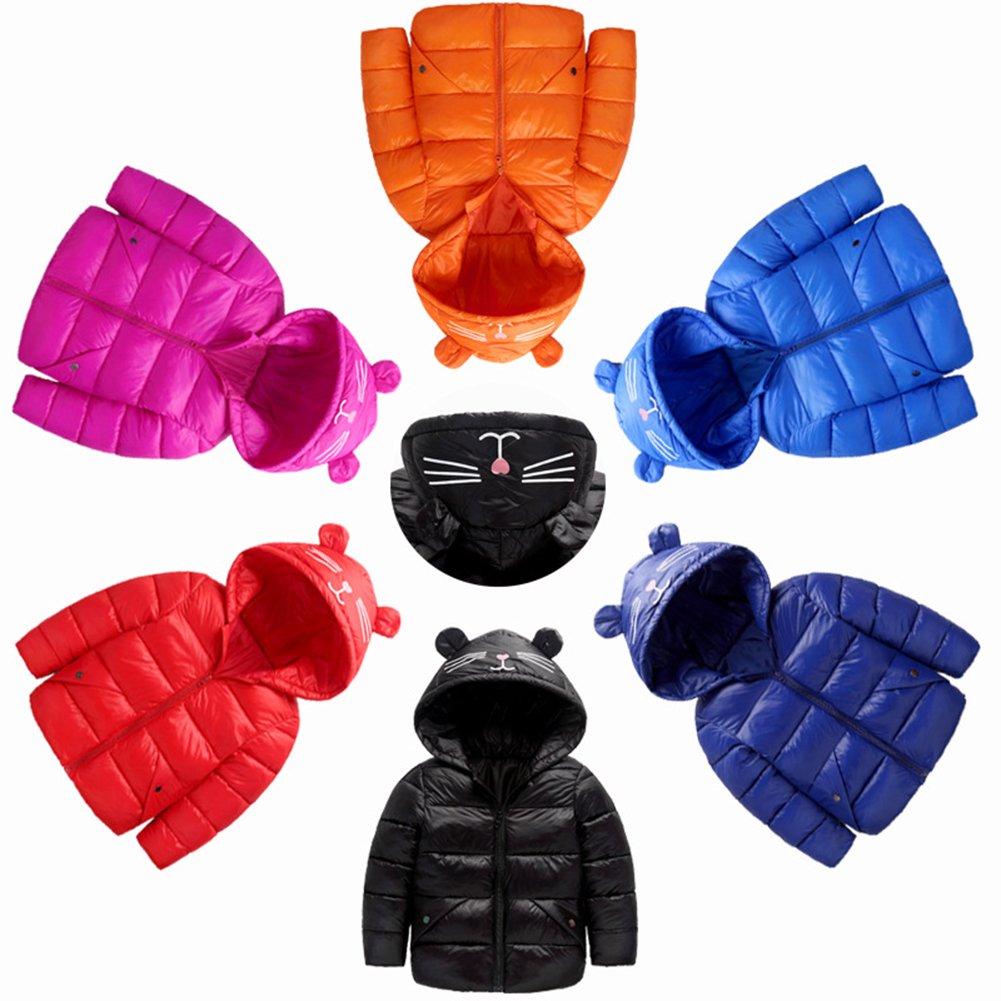Rose Red Fairy Baby Baby Boys Girls Winter Ultra Light Down Jacket Kids Ear Warm Coat Hoodie Outwear Size 3-4T