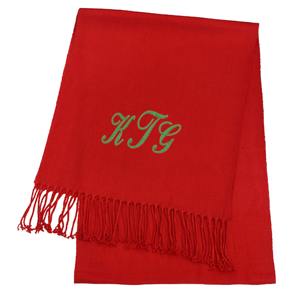 KYS Womens Personalized Cashmere Feel Scarf Red