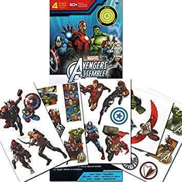 Marvel Avengers Stickers ~ 110 Removable Avengers Wall Stickers (Glow in the Dark Avengers Decals)