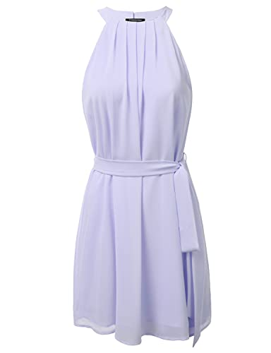 JJ Perfection Women's High Neck Sleeveless Dress with Attached Belt