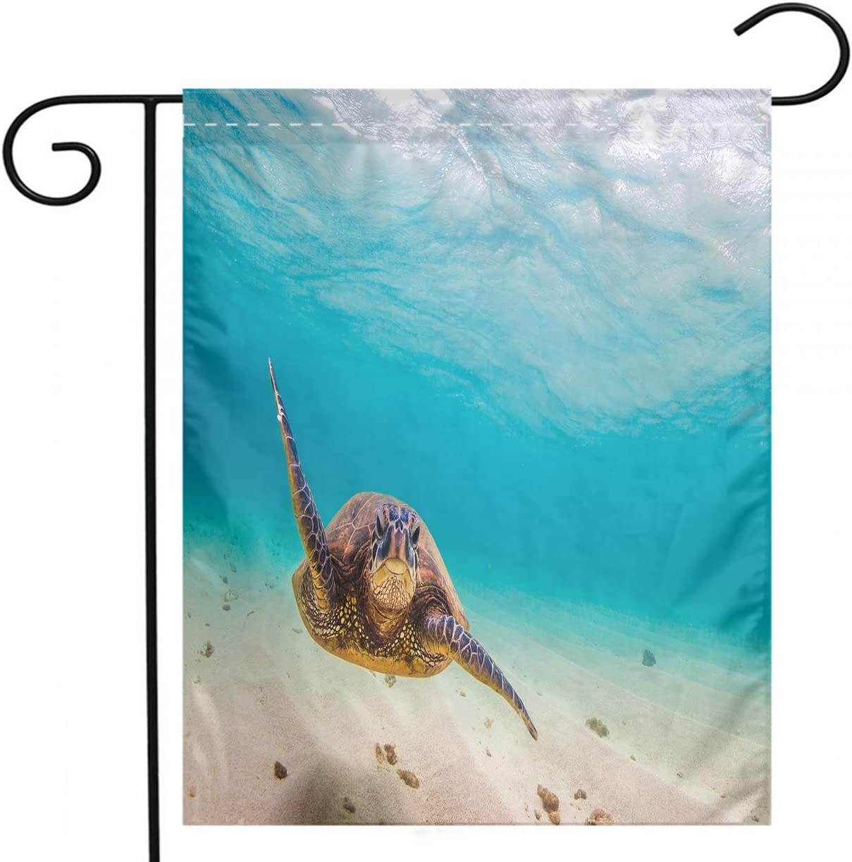 Hawaiian Garden Flag, Custom Double Sided Seasonal Garden Flag Endangered Hawaiian Green Sea Turtle Cruising In The Warm Waters Of The Garden Flag For Party Holiday Home Garden Decor Linen 12x18 Inch