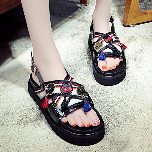 de Zapatos Sandalias Borla Verano Estudiante suela Black gruesa UE RUGAI de 6q4p68