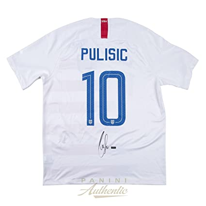 e5c9f9c0919 Christian Pulisic Autographed 2018 Nike US Men s National Team White  10 Authentic  Jersey ~Open Edition Item~ - Panini Authentic - Panini Certified at ...