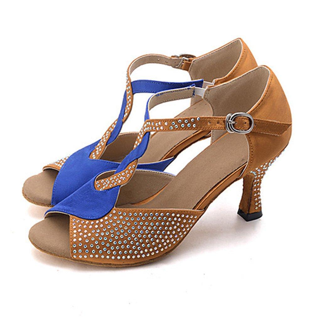 Damen Latin Jazz Modern Swing Schuhe Satin Sandalen Absauml;tze Innen Leistung Professionell Strass Schnalle Keilabsatz Braun Rot-Schwarz 2  US6.5-7 / EU37 / UK4.5-5 / CN37|Brown